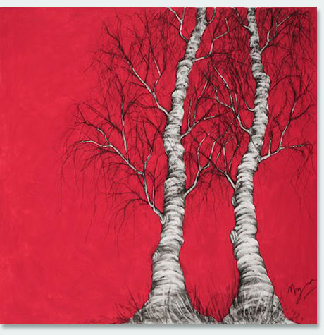 Birches Red by Maria Morgan