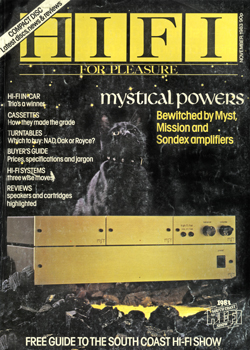 Myst G-Ohm amplifier on the cover of Hi Fi for Pleasure